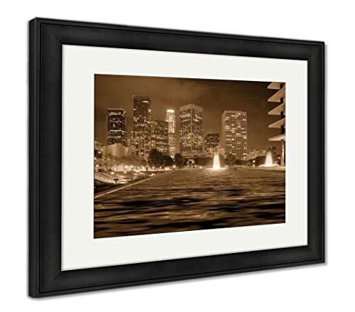 - Ashley Framed Prints Downtown Los Angeles Skyline, Wall Art Home Decoration, Sepia, 34x40 (Frame Size), Black Frame, AG5608075
