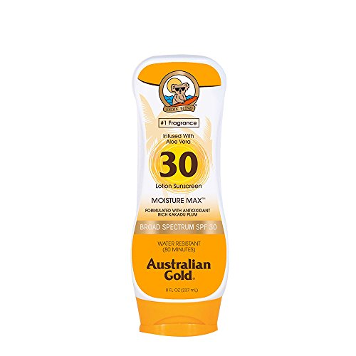 Australian Gold Sunscreen Lotion, Moisture Max, Infused with Aloe Vera, Broad Spectrum, Water Resistant, SPF 30, 8 Ounce (Australian Gold Botanical Tinted Sunscreen Spf 50 Canada)