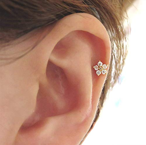 Steel Surgical Earrings Stainless (16g 316L surgical stainless steel CZ Flower Stud Earring)