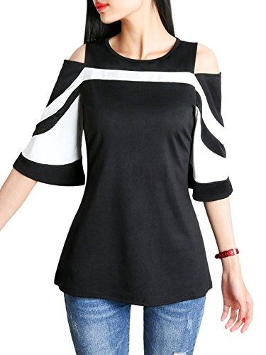 DSUK Donna off Spalla Maglietta a Righe Estate Elegant T Shirt di Moda 3/4 Manica Corta Camicetta con Cerniera Nero