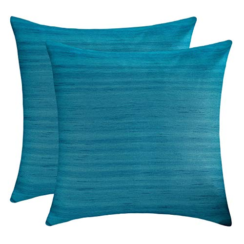 The White Petals Teal Euro Sham Covers (Faux Silk, 26x26 inch, Pack of - Teal Euro Sham