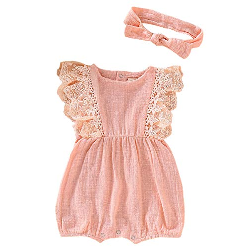 (Infant Baby Girl Sleeveless Linen Romper Bodysuit Outfit Lace Pink Onesie Jumpsuit Summer Sunsuit Clothes 6-12 Months)