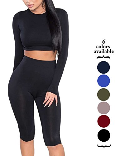 2 Piece Set Outfit - Amilia Womens Sexy Long Sleeve Crop Tops High Waist Leggings 2 Piece Bodycon Set Casual Outfit Tracksuit