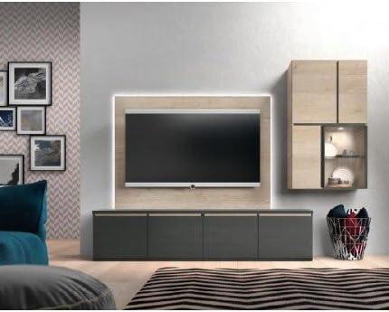 Composición Modular para salón 250 cm con Leds Acabado en Color Antracita Combinado con Color Natural.: Amazon.es: Hogar