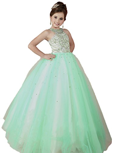 Ball Gown Halter Floor (BaoSai Big Girls' Beaded Halter Tulle Floor Length Ball Gowns Girls Pageant Dresses 10 US Spring Green)