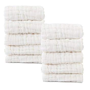 2ec941581509 Amazon.com   Baby Muslin Washcloths- Natural Muslin Cotton Baby ...