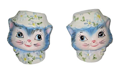 - Vintage Lefton Porcelain Miss Priss Blue Cat Kitty Salt & Pepper Shakers, 3 x 2 1/2 Inches