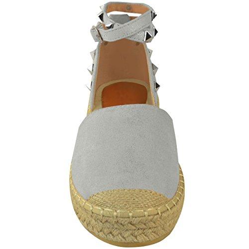 Mode Törstig Kvinna Espadriller Kil Plattform Sandaler Sommar Fotled Strappy Skor Storlek Ljusblå Faux Mocka