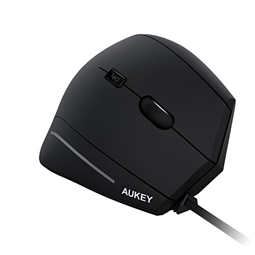 AUKEY Ergonomic Mouse, Wired Vertical Mouse with 2 Adjustable DPI Levels 1000 / 1600 and 6 Buttons for Computers