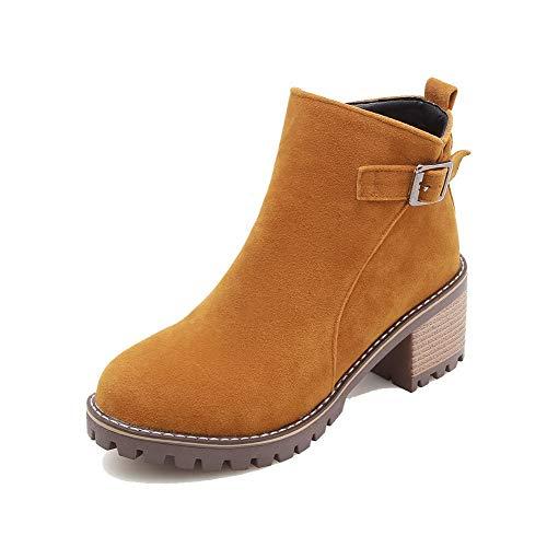 WeenFashion Women's Kitten-Heels Solid Closed-Toe Frosted Zipper Boots,
