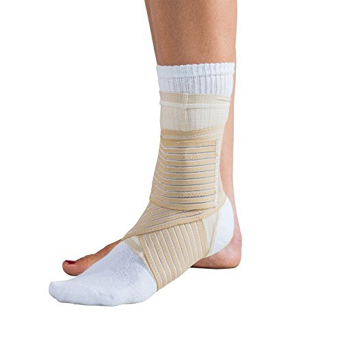 DonJoy Advantage DA161AV03-TAN-M Ankle Sleeve with Figure 8 Straps for Sprains, Strains, Swelling, Lateral Support, Open Heel, Tan, Medium fits 8.5