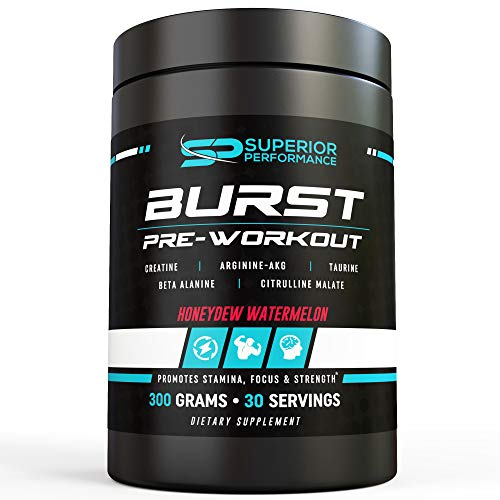 New Superior Performance Burst Pre-Workout Nitric Oxide Booster N.O. Vasodilator Energy Booster Pump Citrulline Malate Creatine (Best Vasodilator Pre Workout)