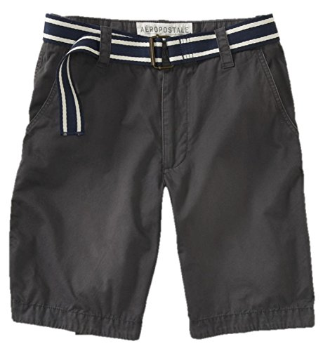 Aeropostale Mens Casual Flat Front Solid Colored Shorts Dark Gray 36