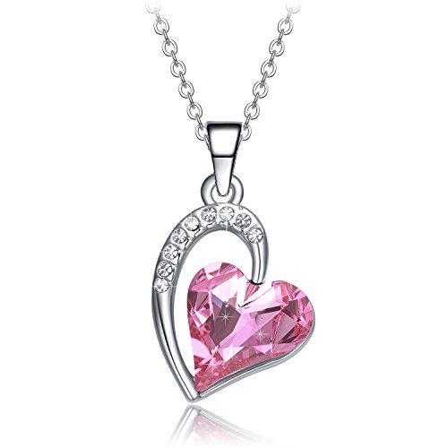 NEEMODA Pink Austrian Crystal Heart Pendant Necklace for Women