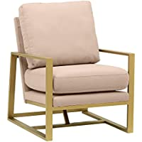 Rivet Charlotte Modern Brass Accent Chair, Dusty Rose