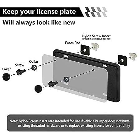 Frames and Covers Cadaleem License Plate Screws Fastener Kit 8 Set Stainless Steel Screws License Plate Screws for Fastening License Plates Black Screw Covers