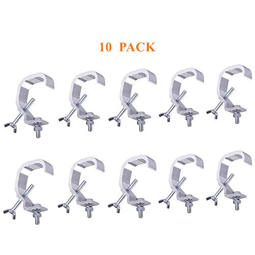 10PCS Stage Light Clamp Hook,Aluminum Alloy C-Clamp Safety Hang on Truss for heavy duty 66LBs,Moving Head Light,DJ Par Lgiht(Pack of 10)