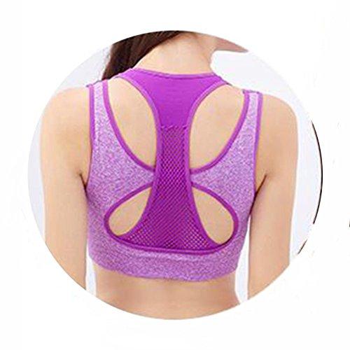 Soutien-gorge de sport pas de mouvement en anneau d'acier fonctionnant courte durée de sommeil faux soutien-gorge deux gilet 5 couleurs en option 6 inches purple
