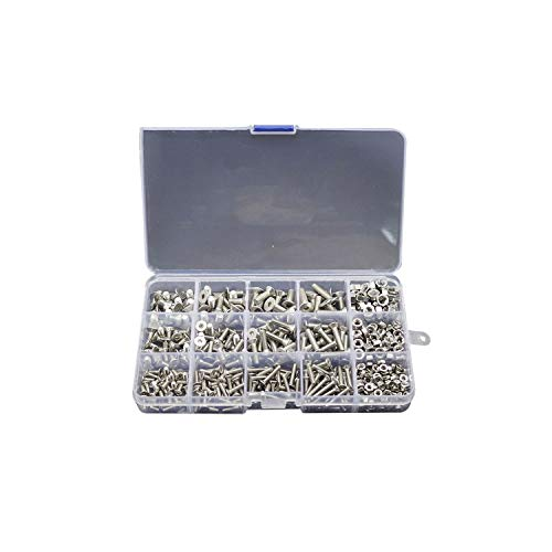 Screws 500pcs/Lot Button Head Hex Screw Bolt Nut Stainless Steel Screws Nuts Assortment Kit Fastener Hardware from AYO-LE Screws