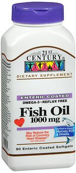 21st Century Fish Oil 1000 Mg Enteric Coated Softgels, 90-Count - Buy Packs and Save (Pack of 2)