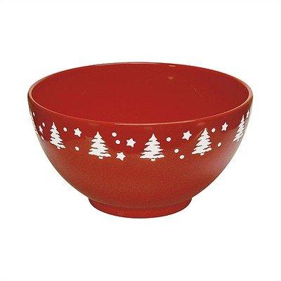 (Tannenbaum Medium Serving Bowl in Cherry with White Tree)