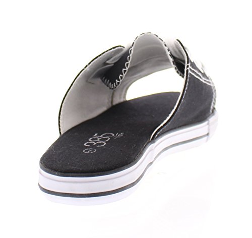 385 Fifth Womens Ace Canvas Slip On Sneakers Slide Sandal Flip Flops Open Toe Flat Lace Up Tennis Shoes Black DwHRPMslX5