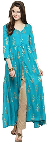 Manas Crafts Indian Women Designer Kurta Kurti Bollywood Tunic Ethnic Top Kurtis Dress Tops (XL) (Top Dress Kurta Tunic)