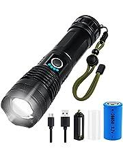 Lanterna Tática Militar LED Recarregável USB de Alto Brilho A Prova D'água para emergências, lanterna de acampamento, tocha de alta potência (Bateria Recarregável)