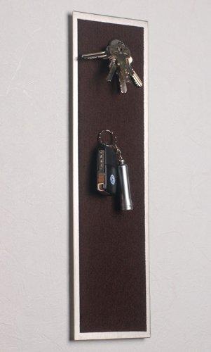 42 x 12 cm mit Filz in dunkel-braun Schl/üsselleiste // Schl/üsselbrett aus Edelstahl Magnet