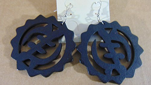 Gye Nyame Ring (Gye Nyame Adinkra Symbol Omnipresence Of God Fashion Wooden Earrings Black)