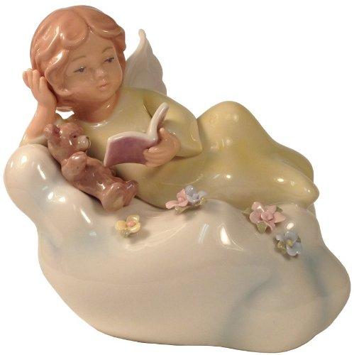 Cosmos 10382 Fine Porcelain Angel Reading Lighted Figurine, 5 1/4