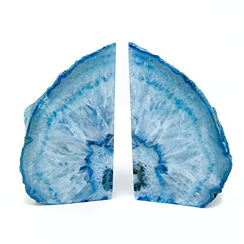 Legacy Of Nature Bookends: Pair Polished 100% Authentic Brazilian Agate Geode Halves Bookends w/Mystery Healing Stone (Blue, 4-6 Pounds)