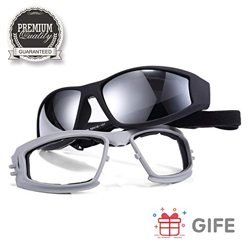 iKedin Polarized Motorcycle Riding Glasses Ski Goggles Adjustable UV Protective Windproof Dustproof Anti Fog Sunglasses for Men and Women - Wraparound Frame - Case, Pouch & Cloth Included