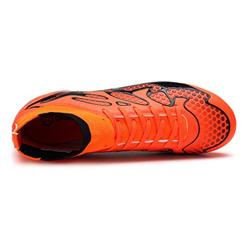 Paires De Rêves Hommes 160858-m Chaussures De Football De Football De Crampons De Mode Orange / Balck