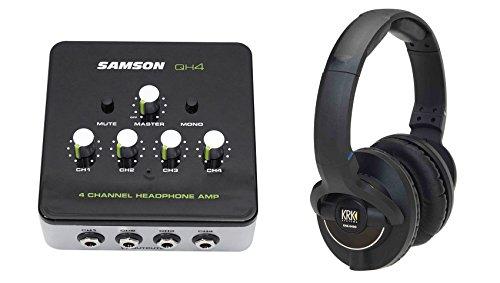 KRK KNS-8400 Professional Dynamic Studio Monitor Headphones+Samson Amplifier by KRK