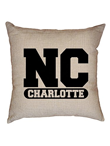 Hollywood Thread Charlotte, North Carolina NC Classic City State Sign Decorative Linen Throw Cushion Pillow Case with - North Classic Carolina Sofa