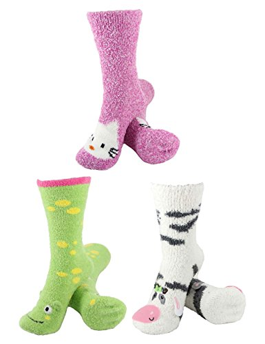 Super Soft Warm Cute Animal Non-Slip Fuzzy Crew Winter Home Socks - Assortment 18, 3 Pairs - Value Pack ()