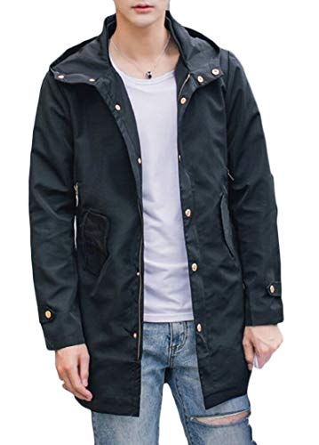 Zip Long Slim Length Mid Hooded TTYLLMAO Coat Trench Black Outdoor Windproof Fit Mens ZwAEUHx