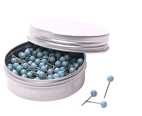 (PTC Office 200PCS 1/8 Inch Small Round Head Map Tacks Pins Home Office Use DIY Craft Project (Light Blue))