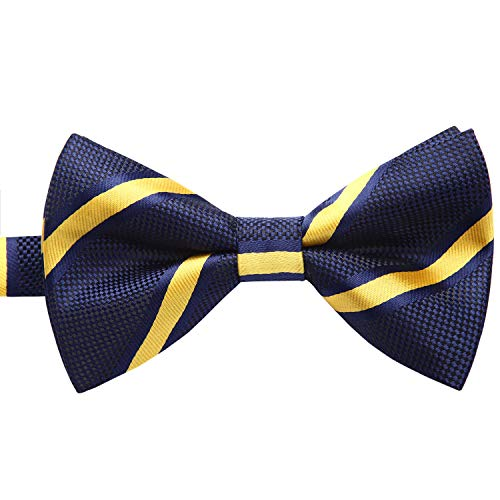 (Enlision Pre-Tied Bow Tie Stripe Adjustable Formal Bowties Neck Tie for Men & Boys Navy Blue/Yellow )