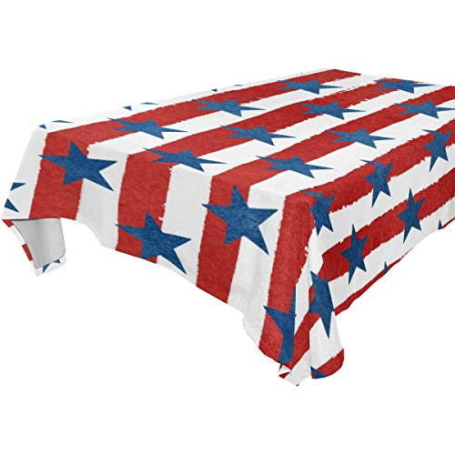 (Custom Tablecloth USA Flag Style Blue Stars White Red Stripes Printed Pattern Washable Heat Resistant Table Cloth 60