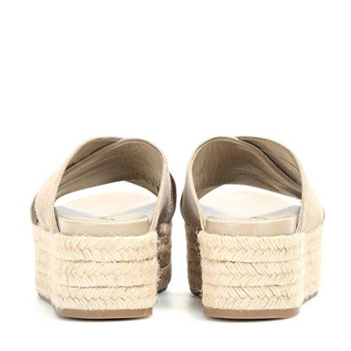 Fsj Femmes Croisées Strappy Sandales Espadrille Plate-forme Pantoufles Mi-talons Confortables Chaussures Taille 4-15 Nous Beige