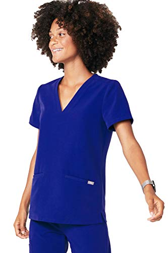 (FIGS Casma Three-Pocket Scrub Top for Women Medical Scrub Top, Deep Royal Blue Xs )