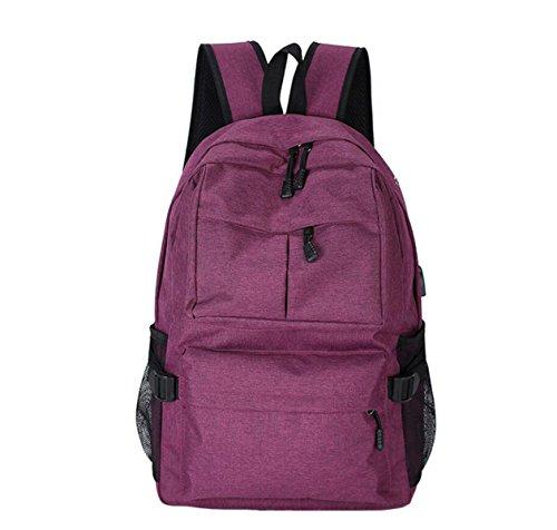 Purple Bolsa funcional Estudiantes Aire Viaje Hombro Multi Y De Capacidad De Libre Hombres Gran De Mochila Al De USB Recargable Bolsa Mujeres 0PT1xqw
