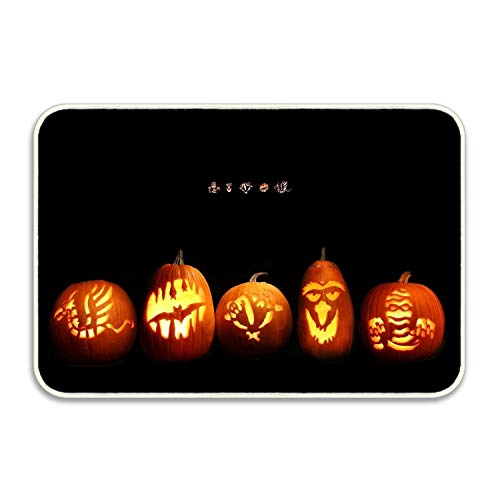 SHUANGRENDE Welcome Doormat Halloween Pumpkin Faces Lights Signs Entrance Floor Mat Rug Indoor/Front Door/Bathroom/Kitchen