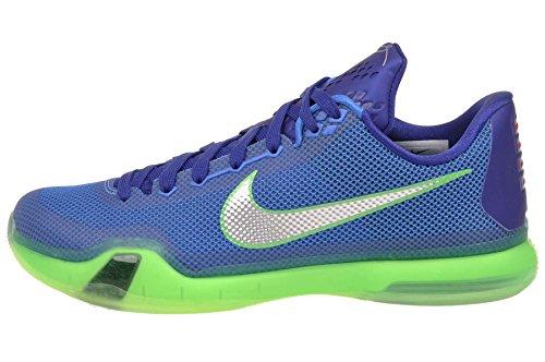 Nike Men's Kobe X, SOAR/Metallic Silver-DEEP Royal Blue-Green Shock, 9.5 M US
