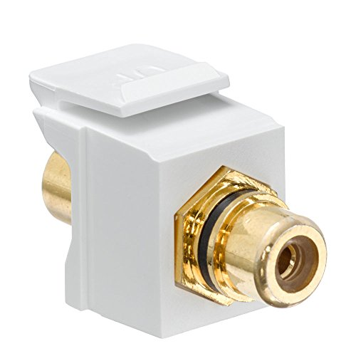 - Leviton 40830-BWE QuickPort RCA, Gold-Plated Connector with Black Stripe, White