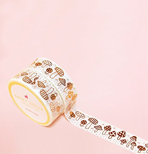 Cute Little Mushrooms in Rose Gold Foil Washi Tape for Planning • Scrapbooking • Arts Crafts • Office • Party Supplies • Gift Wrapping • Colorful Deco…