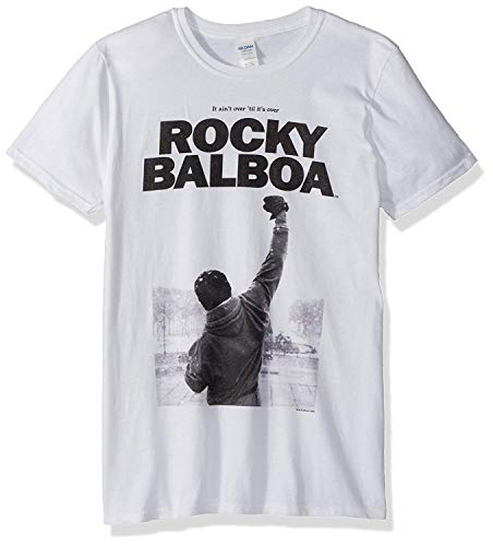 LLWFLPB Rocky Balboa Photo Image Adult Short Sleeve T-Shirt White