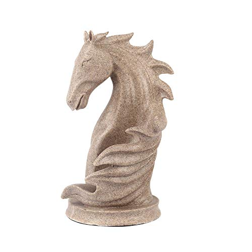 YCWY Resin Sculpture, Vintage Desktop Art Crafts Hotel Decoration Statue Horse Head Resin Wine Rack for Wine Cabinet(311719cm),Gray
